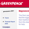 Annual report website for Greenpeace